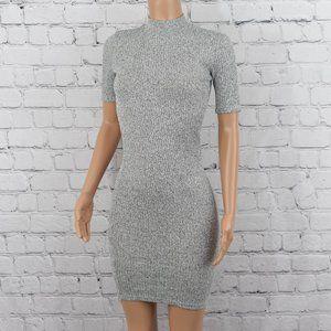 Grey knit bodycon dress